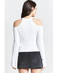 Forever 21 - White Ribbed Open-shoulder Sweater - Lyst