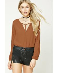 Forever 21 - Brown Tie-front Top - Lyst
