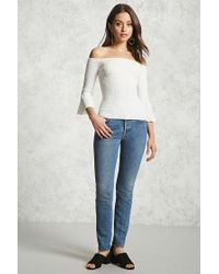 Forever 21 | White Ribbed Off-the-shoulder Top | Lyst