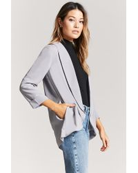 Forever 21 - Gray Crepe Open-front Blazer - Lyst