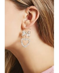 Forever 21 - Metallic Rhinestone Bow Drop Earrings - Lyst
