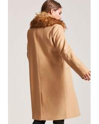Forever 21 - Natural Faux Fur Trimmed Coat - Lyst