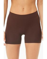 Forever 21 - Brown Ribbed-trim Seamless Shorts - Lyst