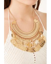 Forever 21 Metallic Collar & Coin Statement Necklace , Gold