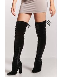 Forever 21 - Black Velvet Over-the-knee Boots - Lyst