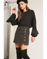 Forever 21 - Black Flounce-sleeve Knit Top - Lyst