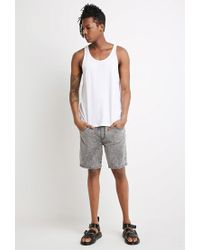 Forever 21 Black 's Acid Wash French Terry Sweatshorts for men