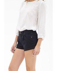 Forever 21 - Black Cuffed Denim Shorts - Lyst