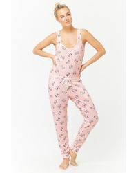 d7a36d404be6 Forever 21 Cat Graphic Pj Jumpsuit in Pink - Lyst