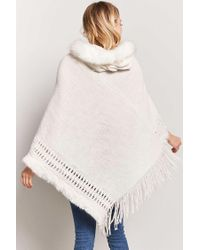 Forever 21 White Faux Fur Hooded Poncho Sweater