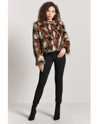 Forever 21 | Brown Multicolored Faux Fur Coat | Lyst