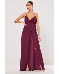 Missguided Purple Maxi Wrap Dress