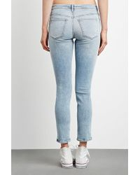Forever 21 - Blue Distressed Girlfriend Jeans - Lyst