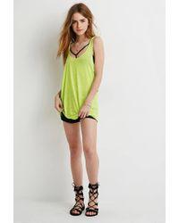 Forever 21 - Green Side Cutout Slub Knit Tank - Lyst