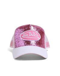 Forever 21 Pink Von Dutch Glitter Trucker Hat
