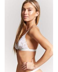 Forever 21 Natural Scalloped Floral Lace Bralette
