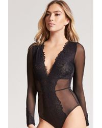 0e8aba9ce898 Forever 21 Plunging Sheer Lace Lingerie Bodysuit in Black - Lyst