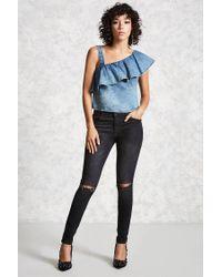 Forever 21 - Blue Women's Denim One-shoulder Top - Lyst