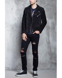 Forever 21 - Black Distressed Slim-fit Jeans for Men - Lyst