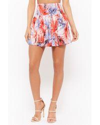 Forever 21 Smocked Foliage Print Skirt , Blue/multi