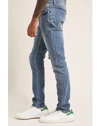 Forever 21 - Blue Distressed Skinny Jeans for Men - Lyst