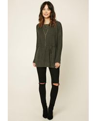 Forever 21 Green Contemporary Drawstring Tunic