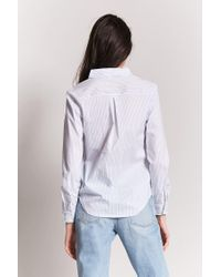 Forever 21 Blue Women's Striped High-low Shirt