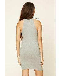 Forever 21 - Gray High Neck Bodycon Dress - Lyst