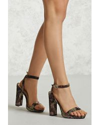 Forever 21 Multicolor Floral Embroidered Heels