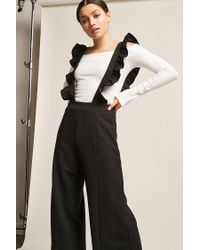 Forever 21 Black Ruffle Suspender Jumpsuit