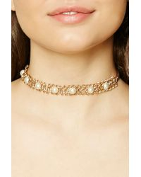 Forever 21 - Metallic Faux Pearl Choker - Lyst