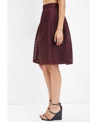 Forever 21 - Purple Shadow Stripe Mesh Skirt - Lyst