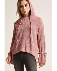 Forever 21 Pink Hooded High-low Sweater