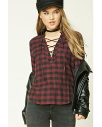 Forever 21 - Black Buffalo Check Lace-up Shirt - Lyst