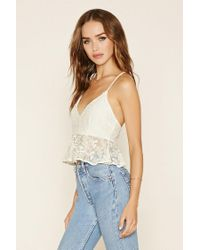 Forever 21 - Natural Floral Lace Peplum Cami - Lyst