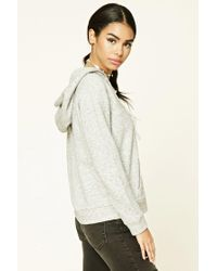 Forever 21 - Gray Heathered Lace-up Hoodie - Lyst