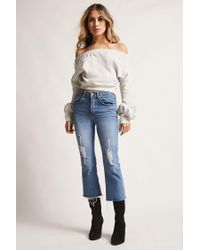 Forever 21 White Off-the-shoulder Fleece Top