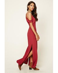 Forever 21 - Red Lace-trimmed Maxi Dress - Lyst