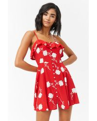 Forever 21 - Red Women's Floral Flounce Cami Dress - Lyst