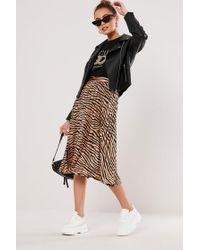 Missguided Zebra Print Skirt At , Bronze/black