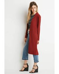Forever 21 | Brown Classic Longline Cardigan | Lyst