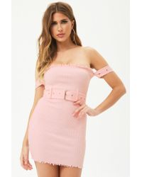Forever 21 - Pink Women's Raw-cut Ribbed Tube Dress - Lyst