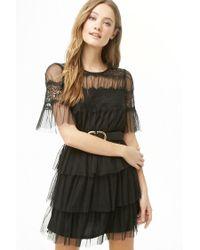 Forever 21 - Black Women's Sheer Tiered-ruffle Dress - Lyst
