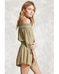 Forever 21 Natural Contemporary Smocked Romper