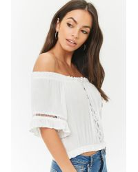 Forever 21 - White Ladder Cutout Off-the-shoulder Top - Lyst