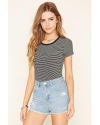 Forever 21 | Black Striped T-shirt | Lyst