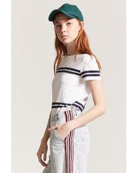 Forever 21 White Women's Varsity Stripe Tee Shirt