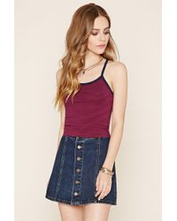 Forever 21 | Blue Cutout Striped Cropped Cami | Lyst