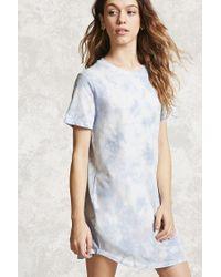 Forever 21 Blue Crystal Dye T-shirt Dress