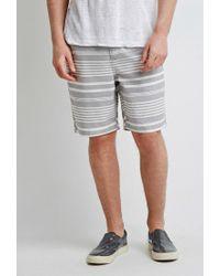 Forever 21 - Gray Mixed Stripe Shorts for Men - Lyst